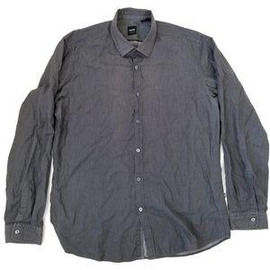 HUGO BOSS Gray Men's Dress Shirt Size Large